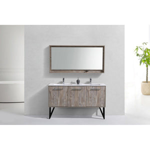 "KubeBath Bosco 60"" Modern Bathroom Vanity with Quartz Countertop KubeBath 60 inch Double Vanity"