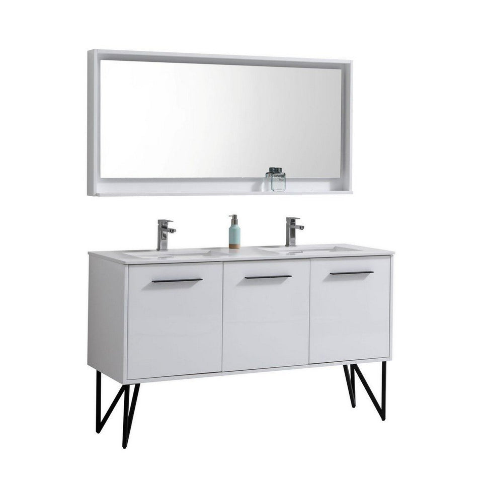 "KubeBath Bosco 60"" Modern Bathroom Vanity with Quartz Countertop KubeBath 60 inch Double Vanity Gloss White"