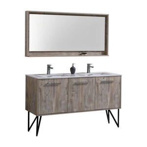 "KubeBath Bosco 60"" Modern Bathroom Vanity with Quartz Countertop KubeBath 60 inch Double Vanity Natural Wood"