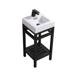 "KubeBath Cisco 16"" Stainless Steel Console with Acrylic Sink KubeBath 16 inch Single Vanity Black"