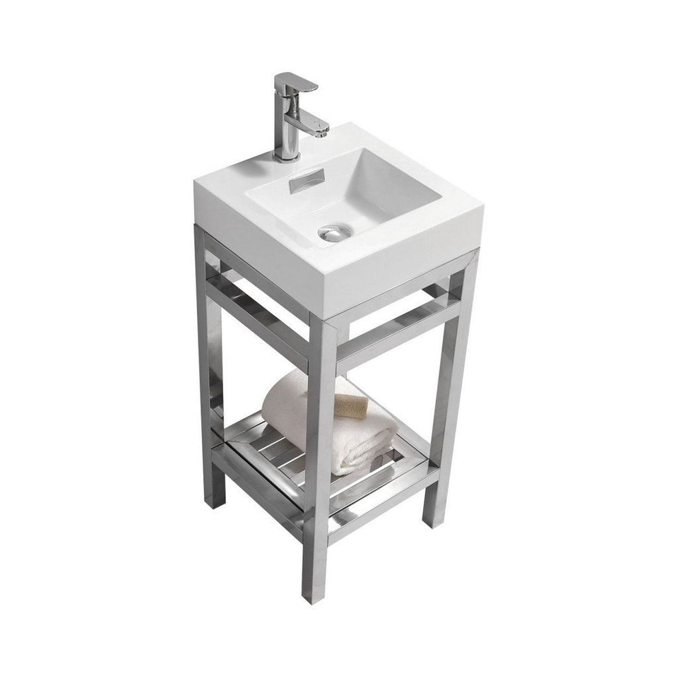 "KubeBath Cisco 16"" Stainless Steel Console with Acrylic Sink KubeBath 16 inch Single Vanity Chrome"