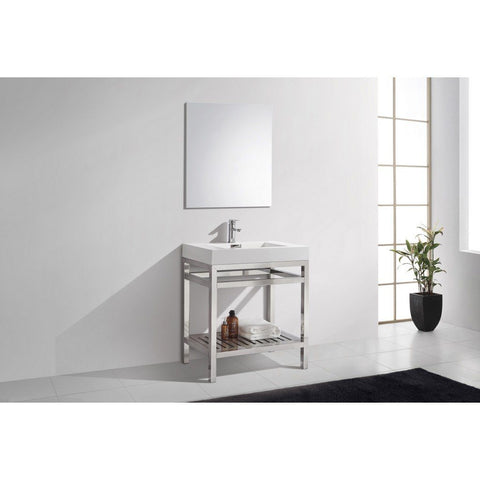 "KubeBath Cisco 30"" Stainless Steel Console with Acrylic Sink KubeBath 30 inch Single Vanity Chrome"