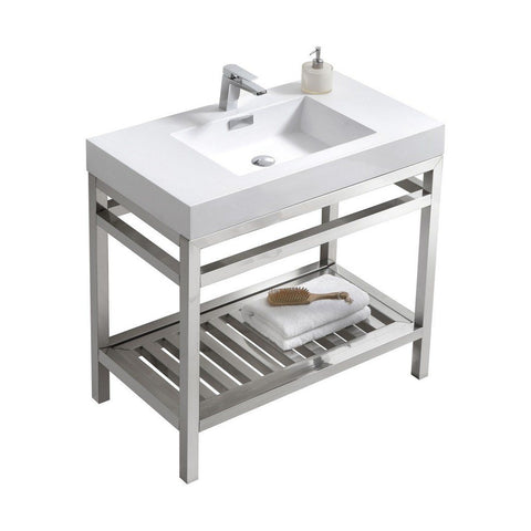 "KubeBath Cisco 36"" Stainless Steel Console with Acrylic Sink KubeBath 36 inch Single Vanity Chrome"