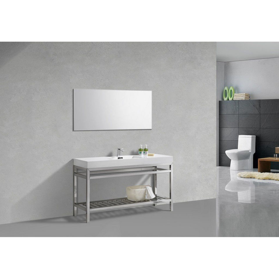 "KubeBath Cisco 60"" Single Sink Stainless Steel Console with Acrylic Sink KubeBath 60 inch Single Vanity"