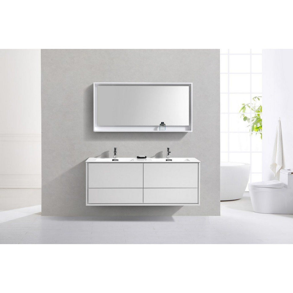 "KubeBath DeLusso 60"" Wall Mounted Modern Bathroom Vanity KubeBath Vanities"