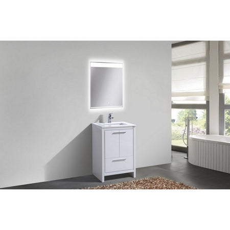 "KubeBath Dolce 24"" Modern Bathroom Vanity with White Quartz Counter-Top KubeBath Vanities"