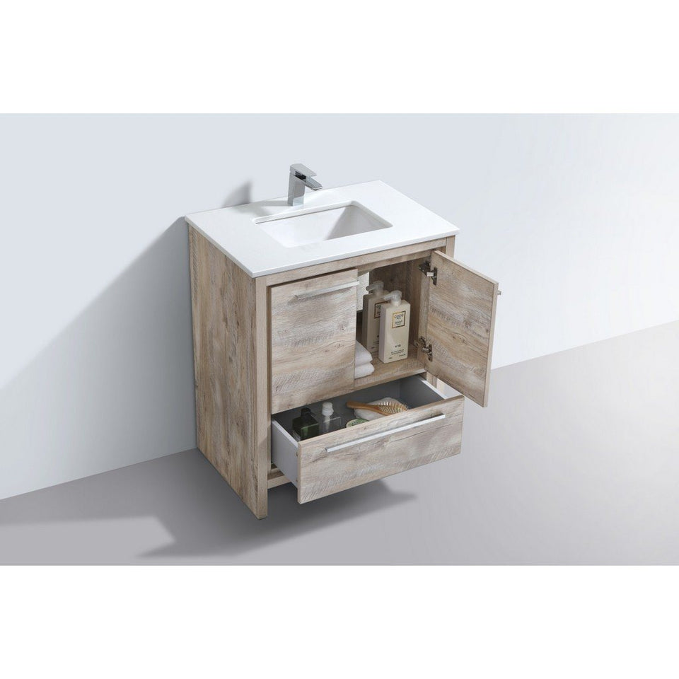 "KubeBath Dolce 30"" Modern Bathroom Vanity with White Quartz Counter-Top KubeBath Vanities"