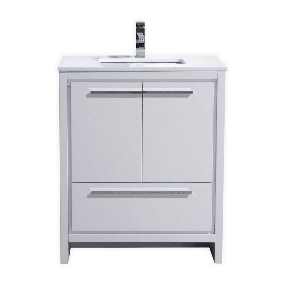 "KubeBath Dolce 30"" Modern Bathroom Vanity with White Quartz Counter-Top KubeBath Vanities Gloss White"