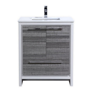 "KubeBath Dolce 30"" Modern Bathroom Vanity with White Quartz Counter-Top KubeBath Vanities Ash Gray"
