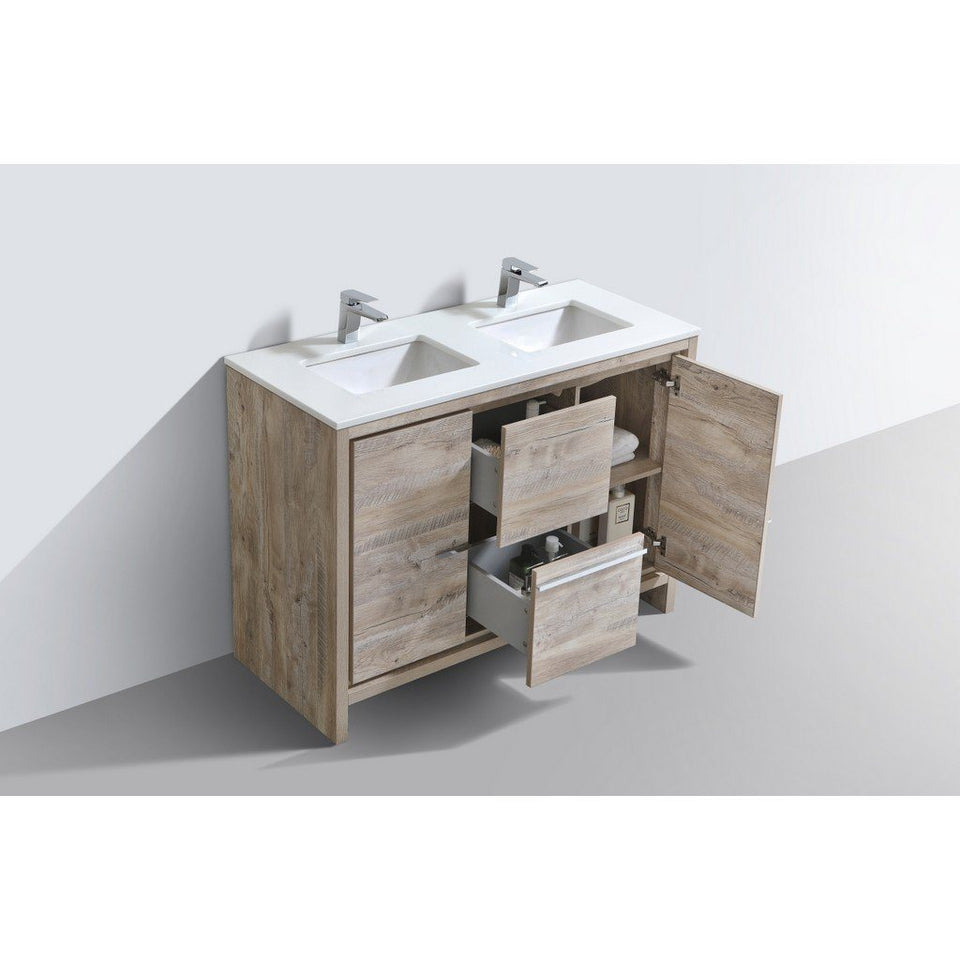 "KubeBath Dolce 48"" Modern Double Bathroom Vanity with White Quartz Counter-Top KubeBath Vanities"