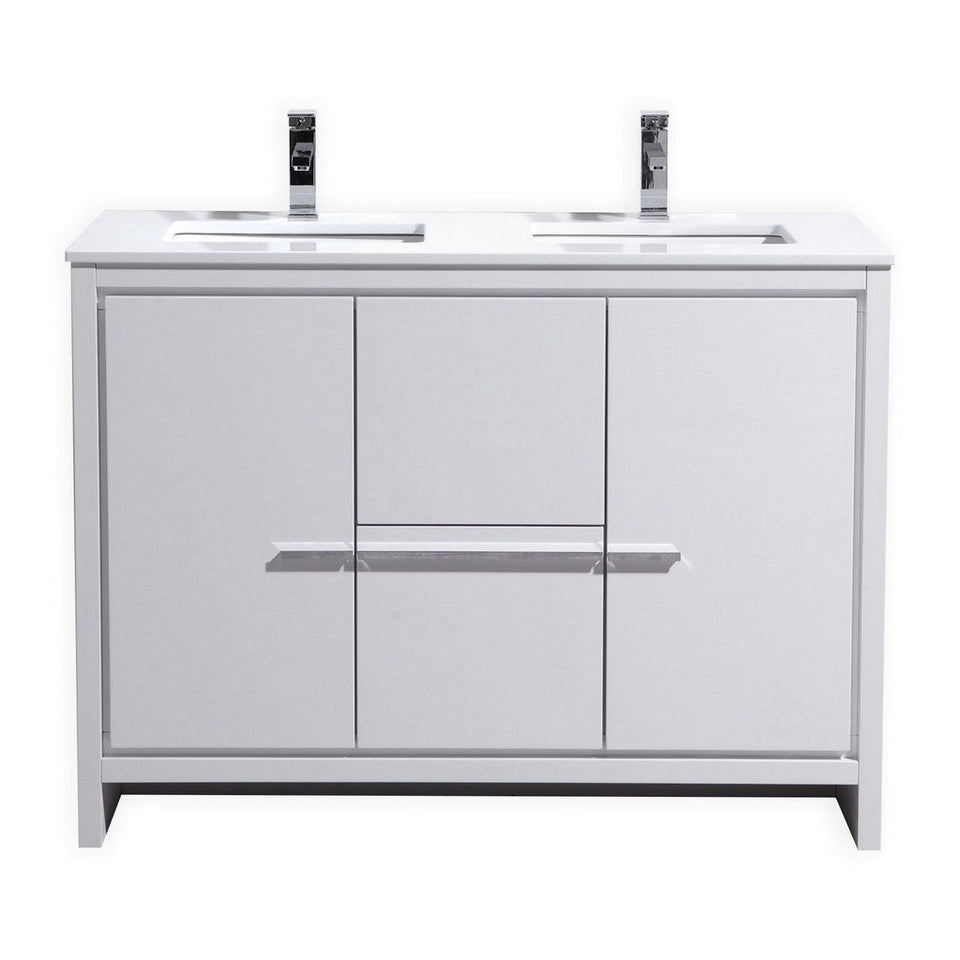 "KubeBath Dolce 48"" Modern Double Bathroom Vanity with White Quartz Counter-Top KubeBath Vanities Gloss White"