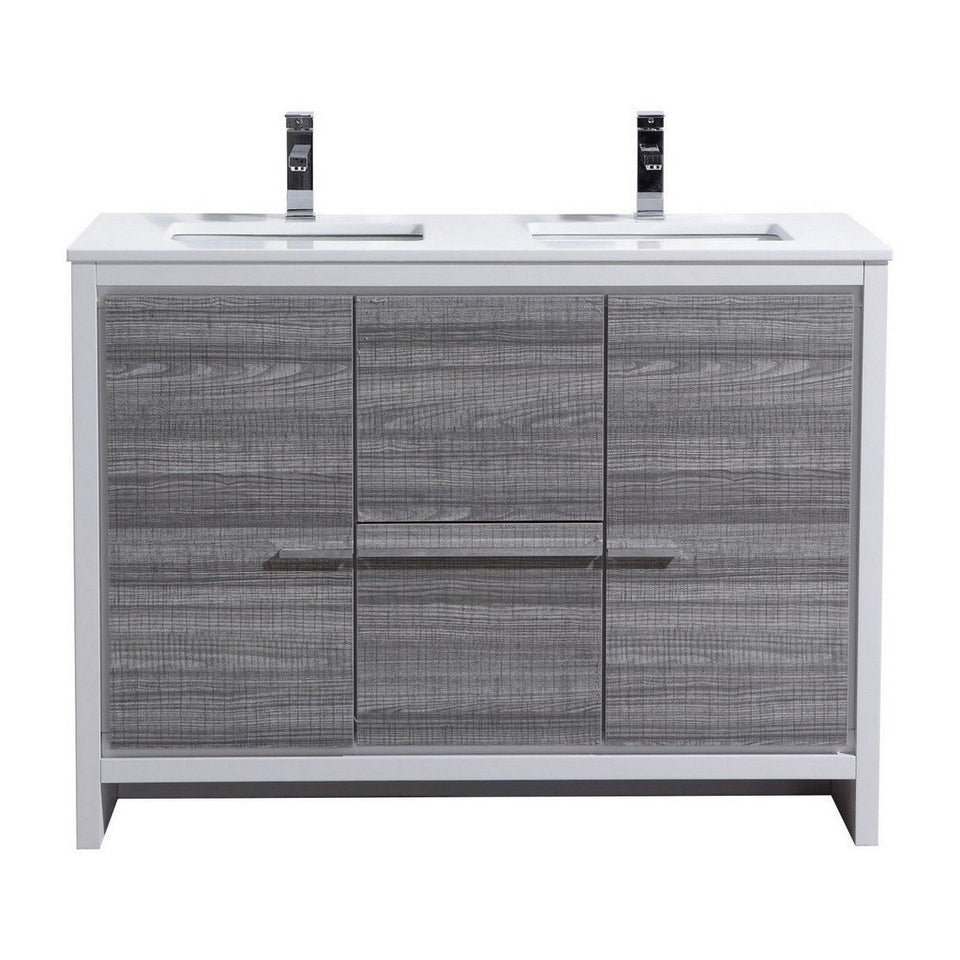 "KubeBath Dolce 48"" Modern Double Bathroom Vanity with White Quartz Counter-Top KubeBath Vanities Ash Gray"