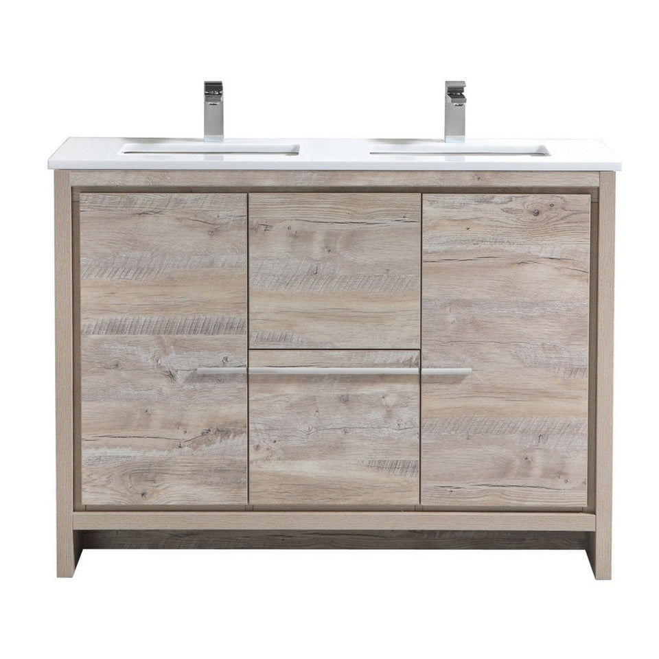 "KubeBath Dolce 48"" Modern Double Bathroom Vanity with White Quartz Counter-Top KubeBath Vanities Natural Wood"