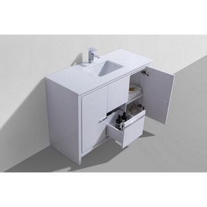 "KubeBath Dolce 48"" Modern Single Bathroom Vanity with White Quartz Counter-Top KubeBath Vanities"