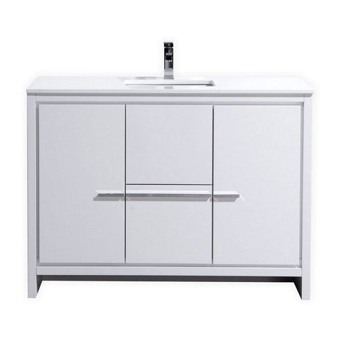 "KubeBath Dolce 48"" Modern Single Bathroom Vanity with White Quartz Counter-Top KubeBath Vanities Gloss White"