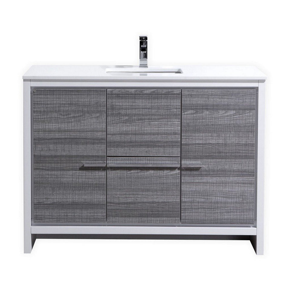 "KubeBath Dolce 48"" Modern Single Bathroom Vanity with White Quartz Counter-Top KubeBath Vanities Ash Gray"