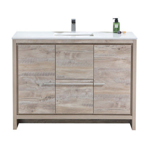 "KubeBath Dolce 48"" Modern Single Bathroom Vanity with White Quartz Counter-Top KubeBath Vanities Natural Wood"