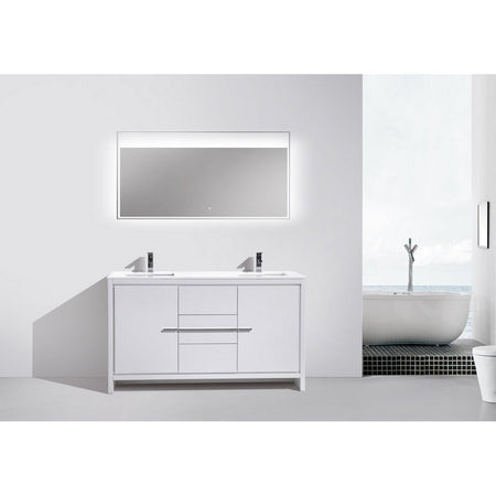 "KubeBath Dolce 60"" Modern Double Bathroom Vanity with White Quartz Counter-Top KubeBath Vanities"