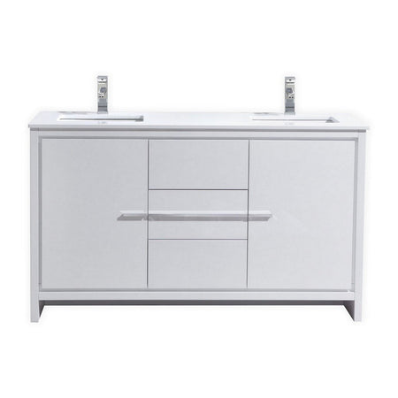 "KubeBath Dolce 60"" Modern Double Bathroom Vanity with White Quartz Counter-Top KubeBath Vanities Gloss White"