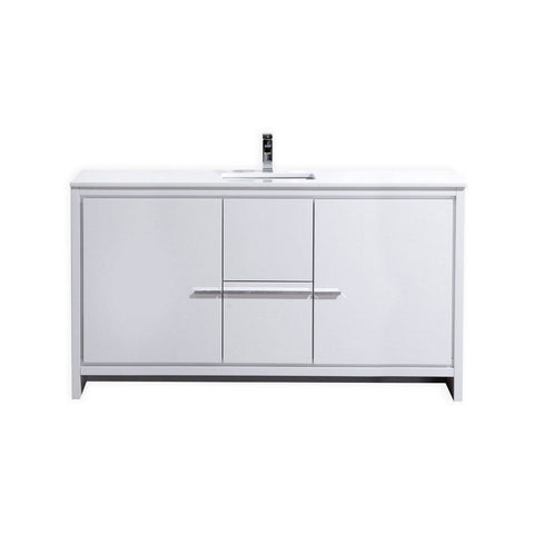 "KubeBath Dolce 60"" Modern Single Bathroom Vanity with White Quartz Counter-Top KubeBath Vanities Gloss White"