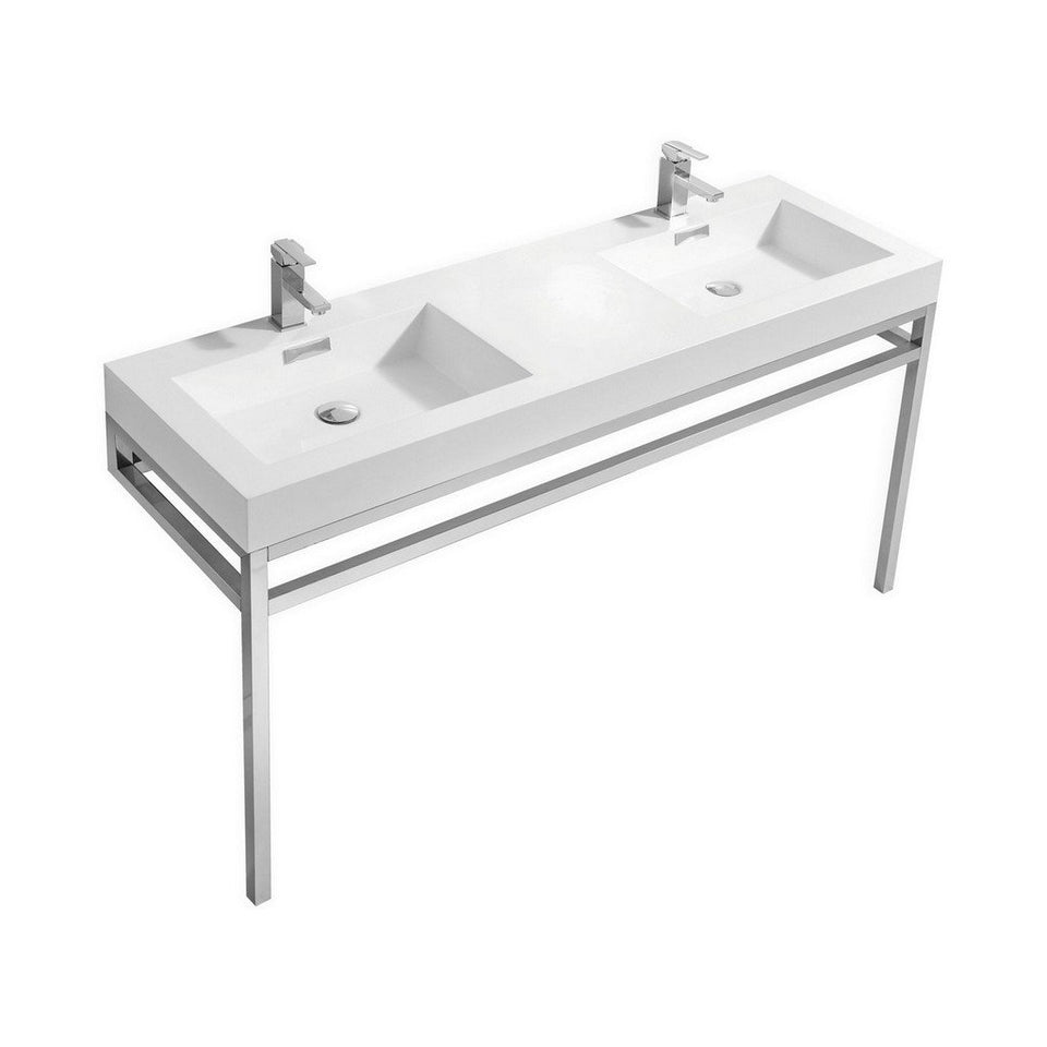 "KubeBath Haus 60"" Double Sink Stainless Steel Console with White Acrylic Sink KubeBath 60 inch Double Vanity Chrome"