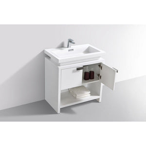 "KubeBath Levi 32"" Modern Bathroom Vanity with Cubby Hole KubeBath Vanities"