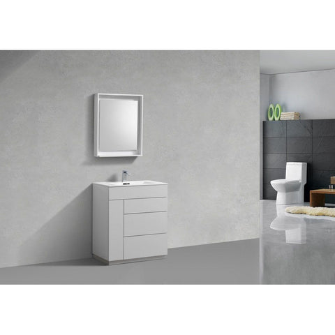 "KubeBath Milano 30"" Modern Bathroom Vanity KubeBath 30 inch Single Vanity Gloss White"