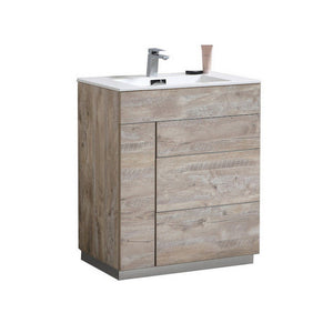 "KubeBath Milano 30"" Modern Bathroom Vanity KubeBath 30 inch Single Vanity Natural Wood"