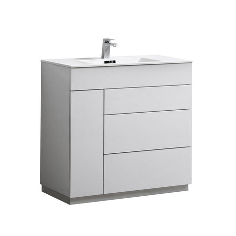 "KubeBath Milano 36"" Modern Bathroom Vanity KubeBath 36 inch Single Vanity Gloss White"