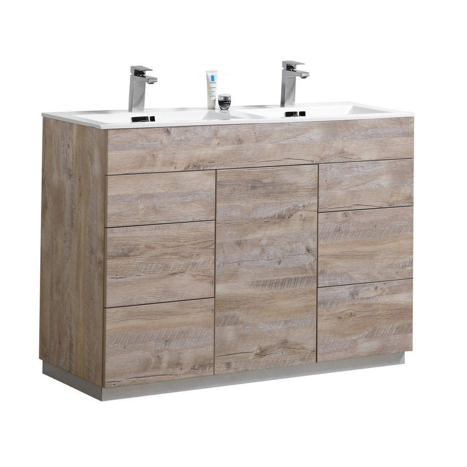 "KubeBath Milano 48"" Modern Double Bathroom Vanity KubeBath 48 inch Double Vanity Natural Wood"
