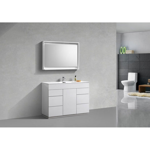 "KubeBath Milano 48"" Modern Single Bathroom Vanity KubeBath 48 inch Single Vanity Gloss White"