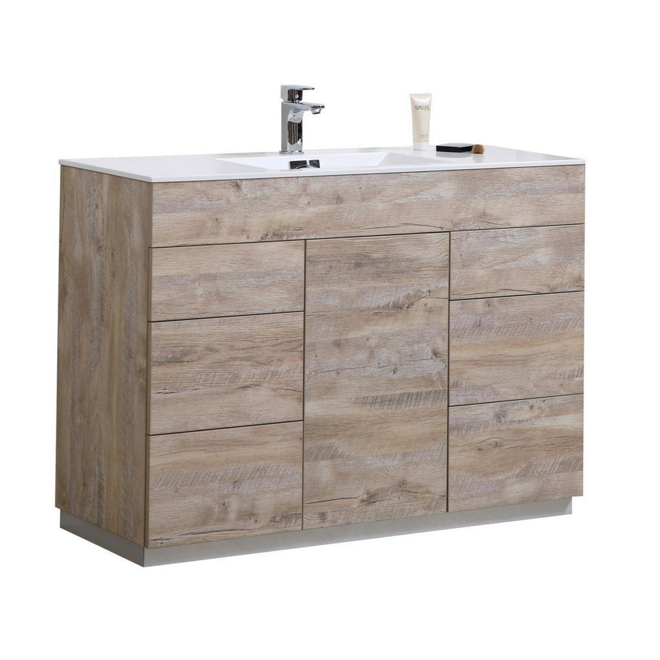 "KubeBath Milano 48"" Modern Single Bathroom Vanity KubeBath 48 inch Single Vanity Natural Wood"