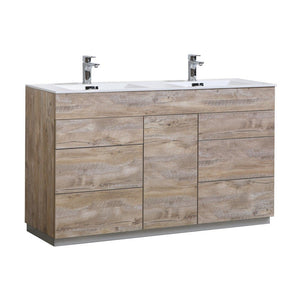"KubeBath Milano 60"" Modern Double Bathroom Vanity KubeBath 60 inch Double Vanity Natural Wood"
