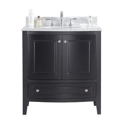 "Laviva Estella 32"" Cabinet with White Carrera Counter Laviva Vanities Espresso"
