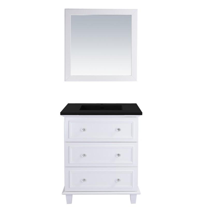 "Laviva Luna 30"" Cabinet with Matte Black VIVA Stone Solid Surface Countertop Laviva Vanities White"