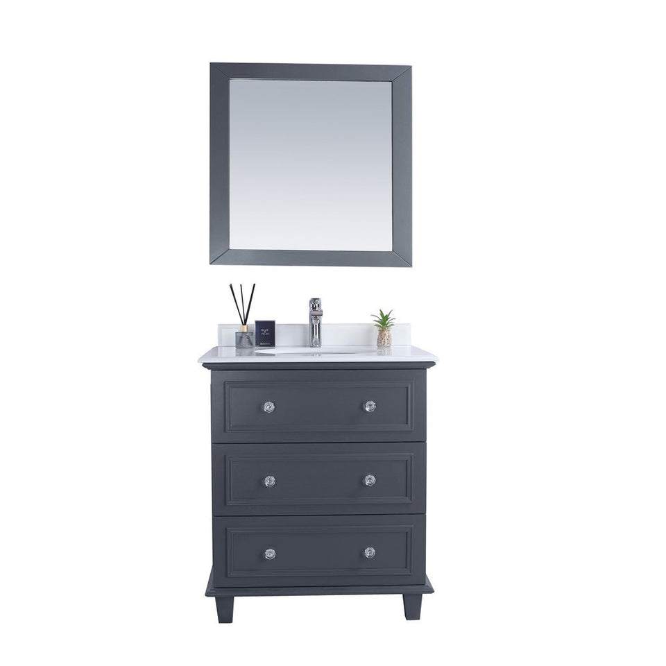 "Laviva Luna 30"" Cabinet with Pure White Counter Laviva Vanities Grey"