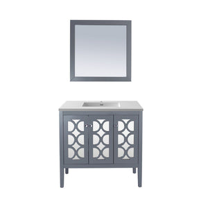 "Laviva Mediterraneo 36"" Cabinet with Matte White VIVA Stone Solid Surface Countertop Laviva Vanities Grey"
