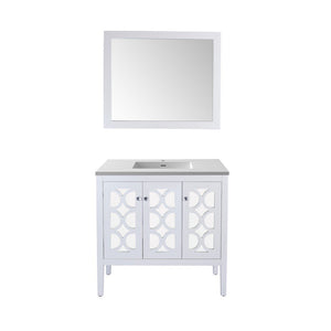 "Laviva Mediterraneo 36"" Cabinet with Matte White VIVA Stone Solid Surface Countertop Laviva Vanities White"