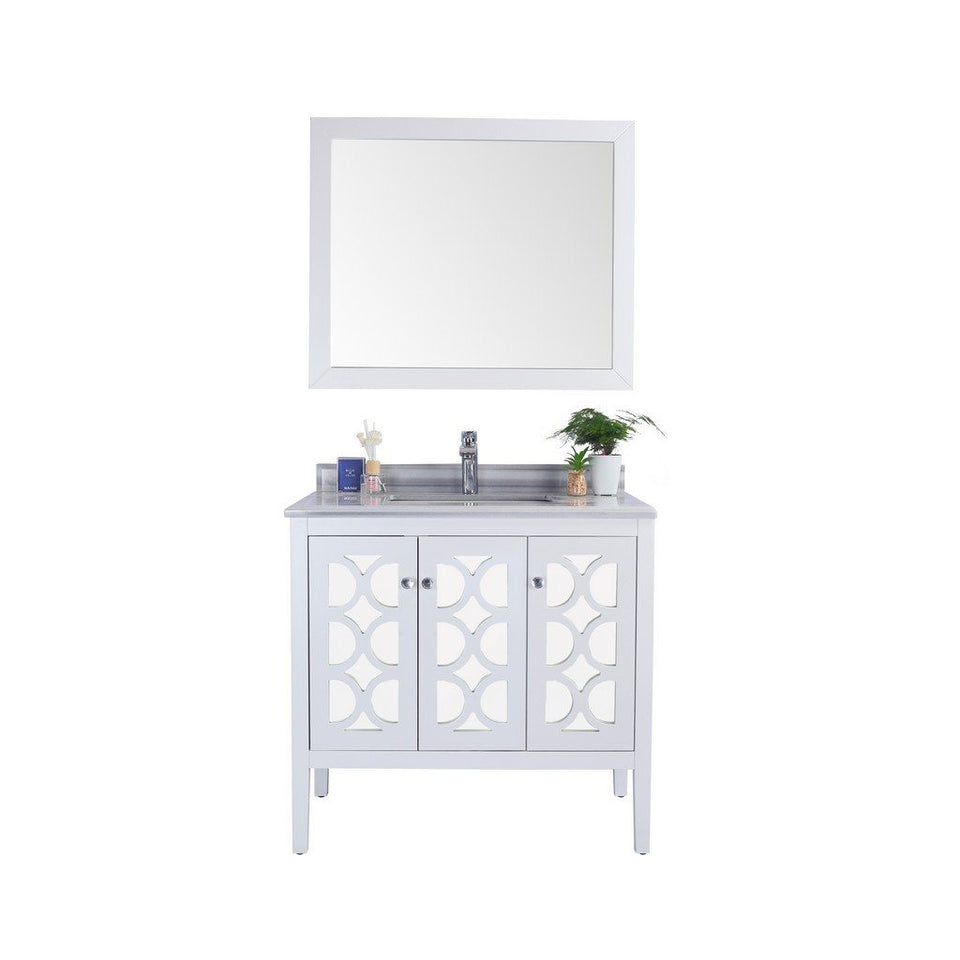 "Laviva Mediterraneo 36"" Cabinet with White Stripes Counter Laviva Vanities White"