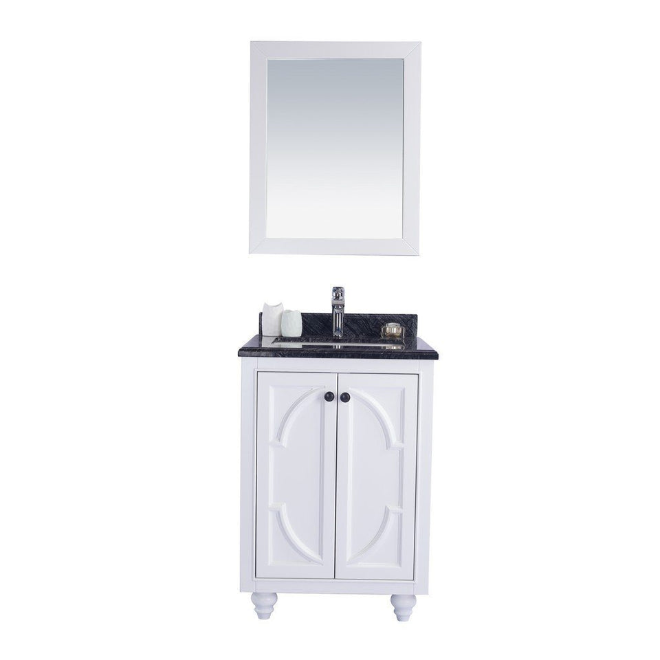 "Laviva Odyssey 24"" Cabinet with Black Wood Counter Laviva Vanities White"