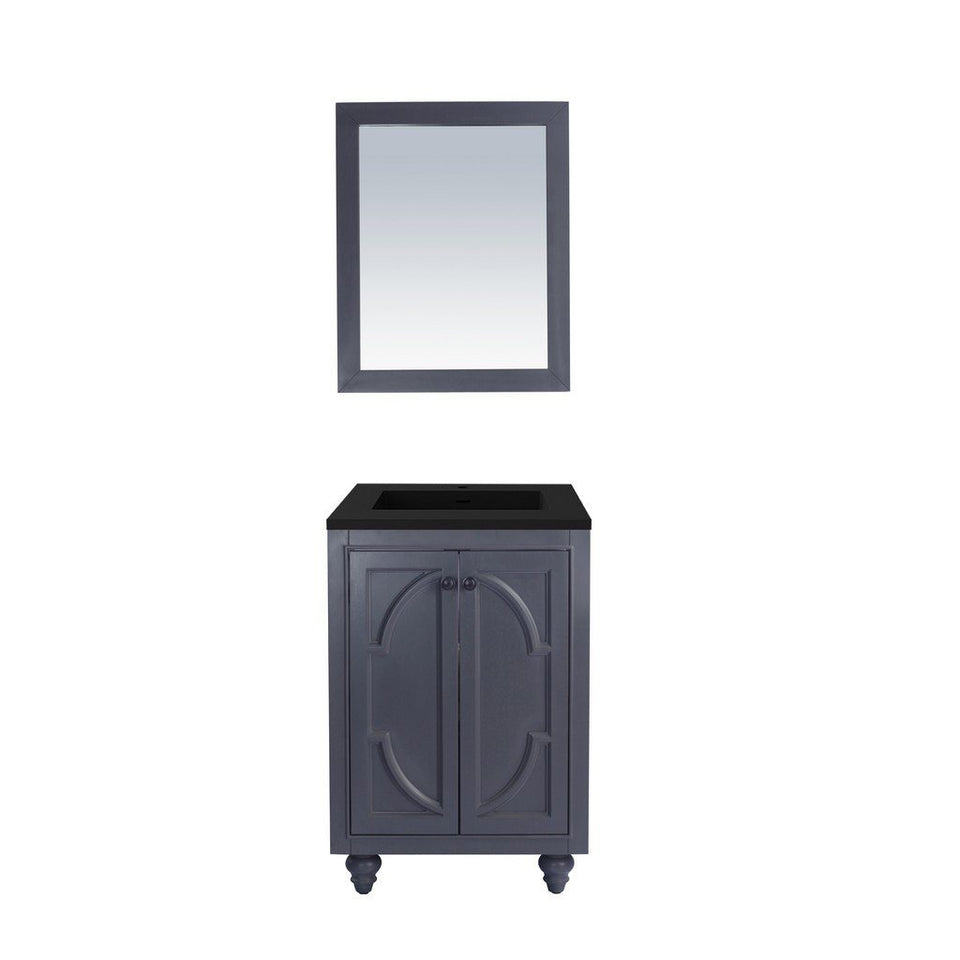 "Laviva Odyssey 24"" Cabinet with Matte Black VIVA Stone Solid Surface Countertop Laviva Vanities Maple Grey"