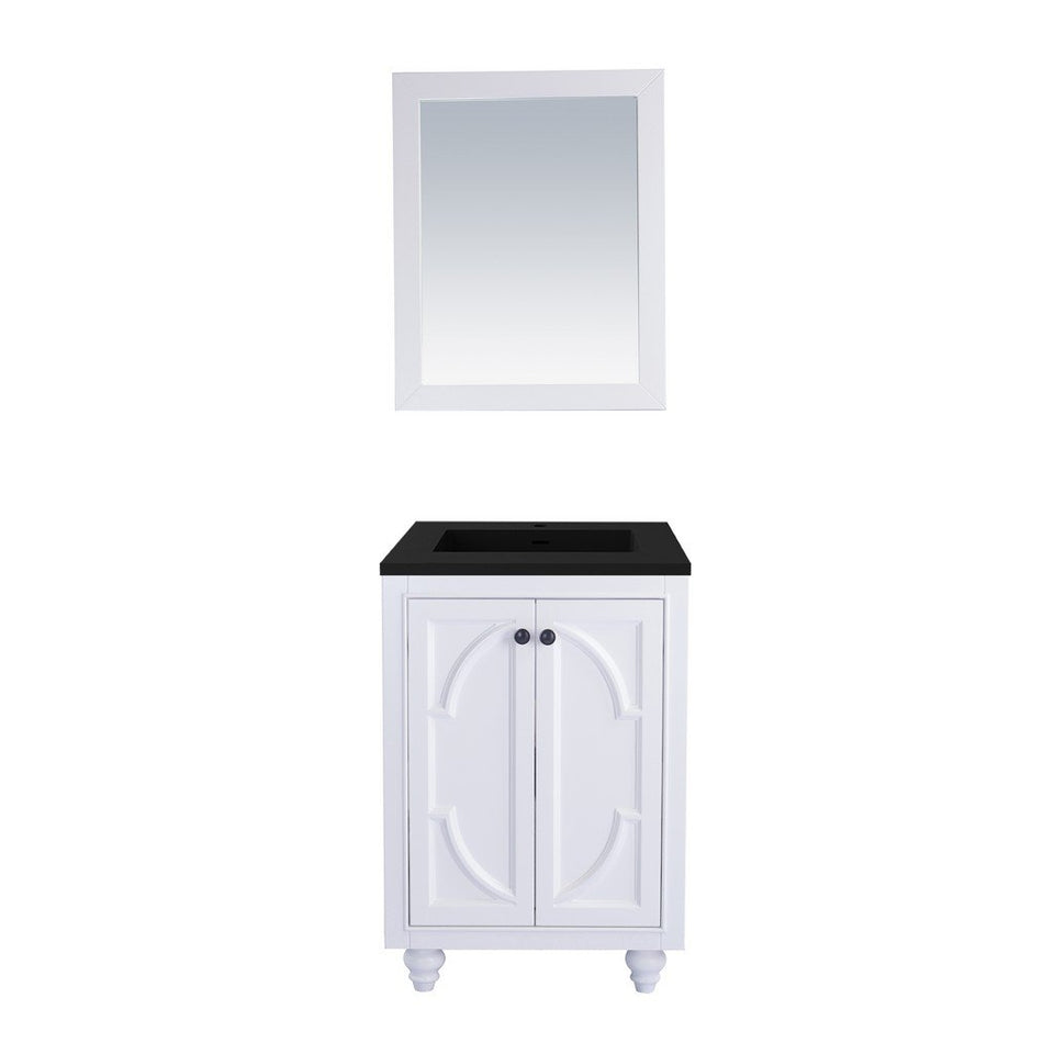 "Laviva Odyssey 24"" Cabinet with Matte Black VIVA Stone Solid Surface Countertop Laviva Vanities White"