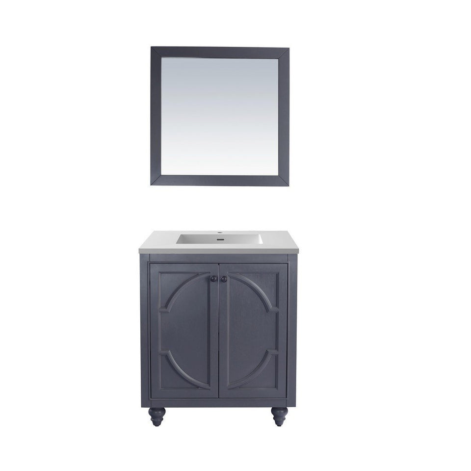"Laviva Odyssey 30"" Cabinet with Matte White VIVA Stone Solid Surface Countertop Laviva Vanities Maple Grey"