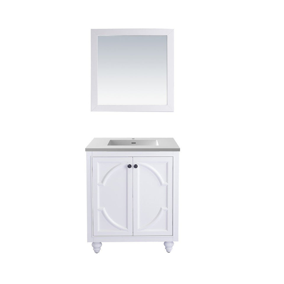 "Laviva Odyssey 30"" Cabinet with Matte White VIVA Stone Solid Surface Countertop Laviva Vanities White"