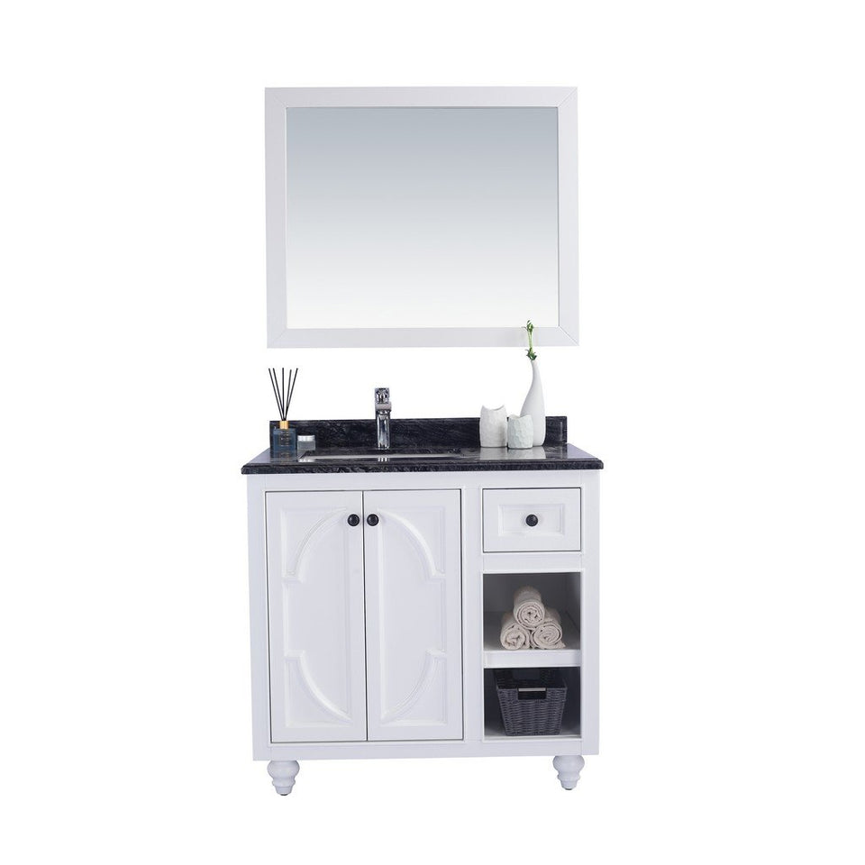 "Laviva Odyssey 36"" Cabinet with Black Wood Counter Laviva Vanities White"