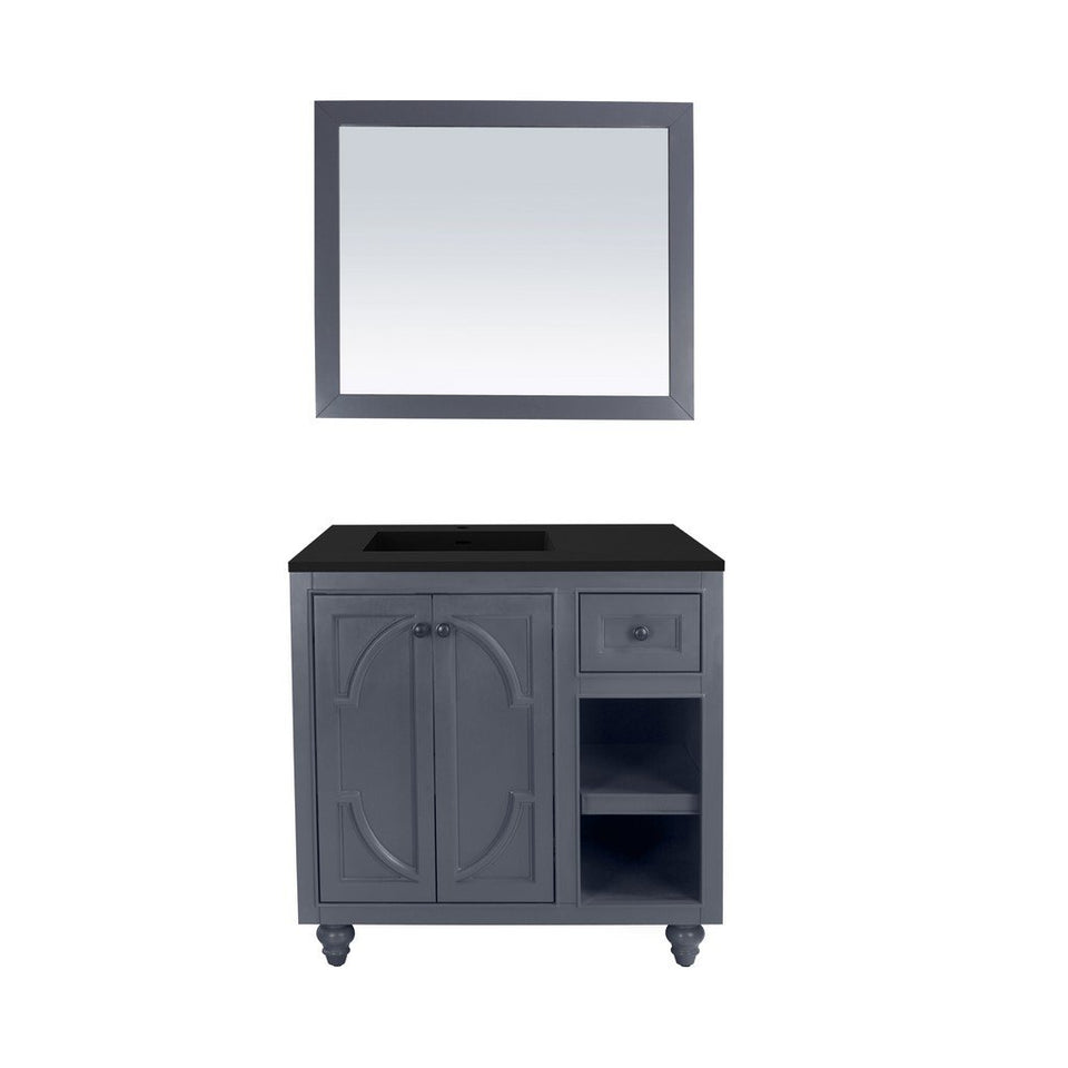 "Laviva Odyssey 36"" Cabinet with Matte Black VIVA Stone Solid Surface Countertop Laviva Vanities Maple Grey"