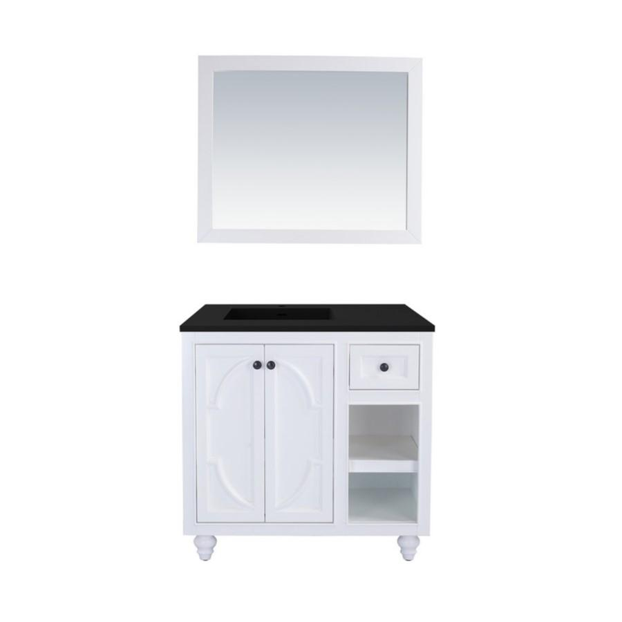 "Laviva Odyssey 36"" Cabinet with Matte Black VIVA Stone Solid Surface Countertop Laviva Vanities White"