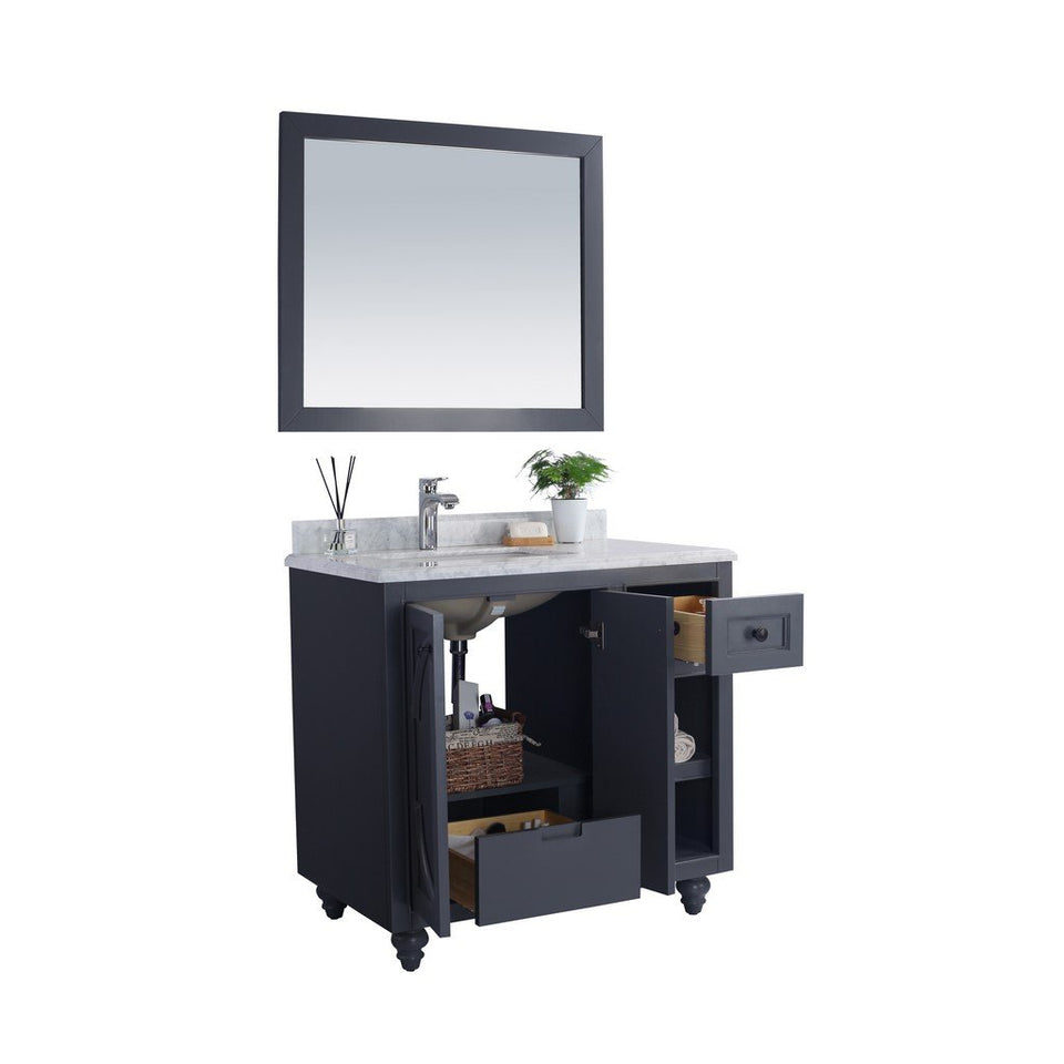 "Laviva Odyssey 36"" Cabinet with Matte Black VIVA Stone Solid Surface Countertop Laviva Vanities"