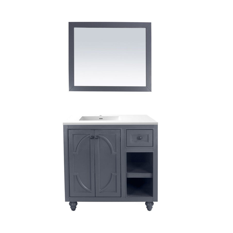 "Laviva Odyssey 36"" Cabinet with Matte White VIVA Stone Solid Surface Countertop Laviva Vanities Maple Grey"