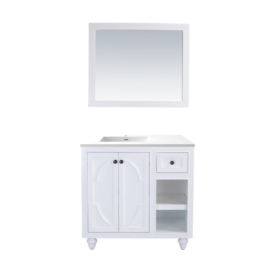 "Laviva Odyssey 36"" Cabinet with Matte White VIVA Stone Solid Surface Countertop Laviva Vanities White"